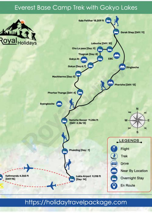 Everest Base Camp With Gokyo Route Map